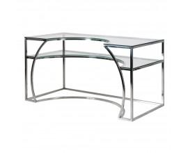 Art-deco atypický pracovný stôl s doskou zo skla a konštrukciou v striebornej farbe 140 cm