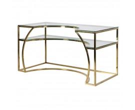 Art-deco atypický pracovný stôl s doskou zo skla a konštrukciou v zlatej farbe 140 cm