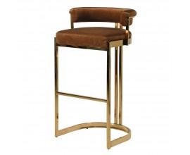 Exkluzívna barová stolička Caramela v art-deco štýlovom hnedom zamatovom poťahu a zlatými nožičkami