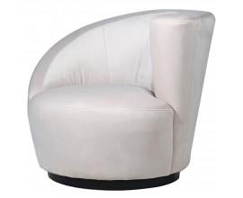 Atypická stolička Elsa v art deco prevedení s off white zamatovým poťahom a čiernou podstavou z dreva