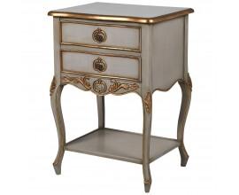 Barokový nočný stolík z mahagónového dreva v bielej farbe so zlatými ozdobnými prvkami v podobe jednoduchých línií a dekoračných