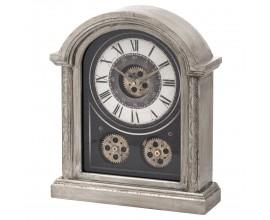 Dizajnové drevené stolové hodiny v striebornom antickom prevedení s kovovým mechanizmom
