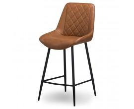 Dizajnová barová stolička Cindy s eko koženým hnedým poťahom s čiernymi nožičkami 102cm