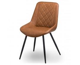 Dizajnová jedálenská stolička Cindy s hnedým poťahom z eko kože s čiernymi nožičkami 82cm