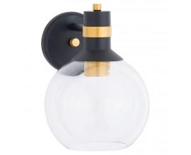 Art-deco nástenná lampa Milienne čiernej farby so zlatými aplikáciami a kovovou konštrukciou