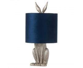 Dizajnová stolná lampa Zajac Ušiak v striebornej farbe s modrým tienidlom  50cm