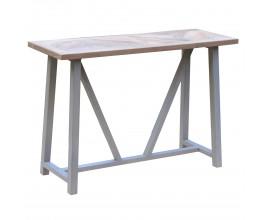 Konzolový stolík Nyakim s masívnou drevenou vrchnou doskou s povrchovo upravenými nožičkami vo vintage štýle