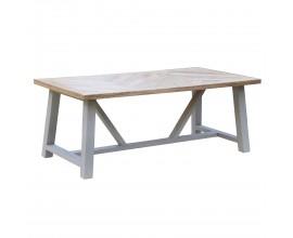 Dizajnový jedálenský stôl Nyakim zo svetlo hnedého masívu so svetlo sivými nožičkami 200cm