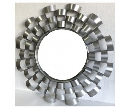 Art-deco okrúhle nástenné zrkadlo Eva s dizajnovým kovovým rámom 74cm
