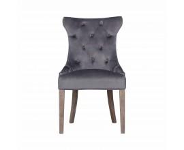 Chesterfield  jedálenská stolička Dinah s poťahom tmavosivej farby a drevenými nohami 100cm