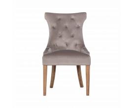 Chesterfield moderná jedálenská stolička Dinah s béžovým poťahom a drevenými nohami 100cm
