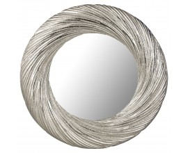 Moderné nástenné zrkadlo Farrah okrúhleho tvaru so strieborným kovovým rámom 50cm