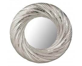 Dizajnové nástenné kruhové zrkadlo Farrah s kovovým strieborným rámom v antickom štýle