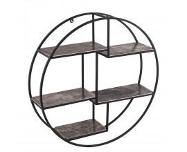 Moderný závesný policový diel Farrah kruhového tvaru z kovu sivej farby 92cm