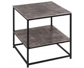 Moderný kovový príručný stolík Farrah v sivej farbe štvorcového tvaru 46cm