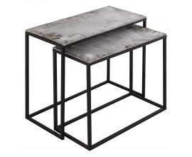 Moderný set dvoch príručných stolíkov Farrah v sivej farbe s konštrukciou z kovu