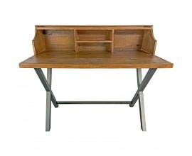 Industriálny pracovný stolík Durand z dreva s kovovými nohami 120cm