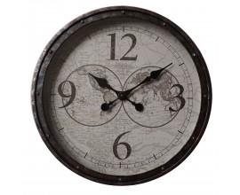 Rustikálne dizajnové nástenné hodiny Nomad s čiernym rámom 50cm