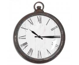 Retro kruhové dizajnové nástenné hodiny Nomad s kovovým čiernym rámom 41cm