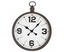 Retro dizajnové okrúhle nástenné hodiny Nomad s čiernym rámom z kovu 49cm