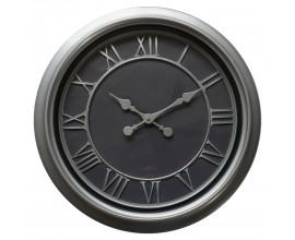 Moderné nástenné hodiny Denya kruhového tvaru v čierno-striebornom prevedení 59cm
