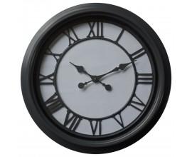 Moderné okrúhle nástenné hodiny Denya v bielo-čiernom prevedení s rámom z kovu