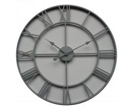Retro dizajnové nástenné hodiny Edon z kovu v sivej farbe 70cm