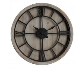 Jedinečné čierno-hnedé masívne okrúhle nástenné hodiny Kingscross vo vintage prevedení