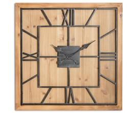 Nadčasové čierno-hnedé masívne industriálne štvorcové nástenné hodiny Faarzal vo vintage prevedení