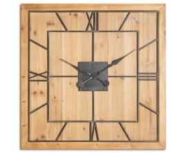 Vkusné industriálne masívne nástenné hodiny Faarzal štvorcového tvaru vo vintahge prevedení