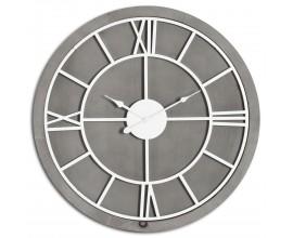 Nadčasové hnedo-strieborné nástenné hodiny Stormhil kruhového tvaru zo šedého dreva