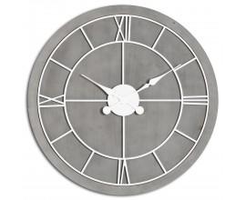 Jedinečné hnedo-strieborné nástenné hodiny Stormhil kruhového tvaru z masívneho dreva