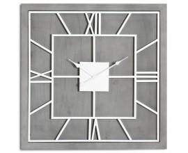 Luxusné štvorcové masívne nástenné hodiny Stormhill sivej farby v štýle art-deco