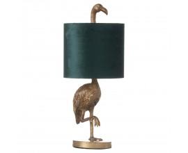 Zlatá stolná lampa Plameniak Florence z keramiky so smaragdovo zeleným tienidlom 61cm
