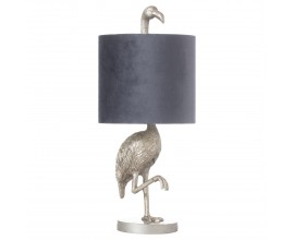 Strieborná stolná lampa Plameniak Florence z keramiky so sivým tienidlom 61cm