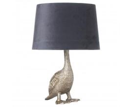 Strieborná stolná lampa Goose Gary v tvare husi so sivým tienidlom 58cm