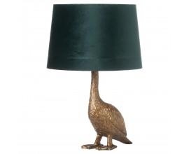 Zlatá stolná lampa Goose Gary v tvare husi so smaragdovo zeleným tienidlom 58cm