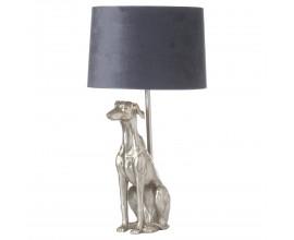 Štýlová stolná lampa Vipet William v striebornej farbe so sivým tienidlom 72cm