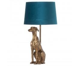 Štýlová stolná lampa Vipet William v zlatej farbe s tyrkysovým tienidlom 72cm