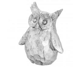 Dizajnová keramická soška Sova Olivia striebornej farby