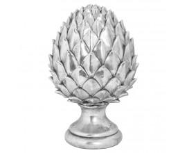 Dizajnová keramická dekorácia Borovicová šiška striebornej farby 30cm