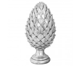Dizajnová keramická soška Borovicová šiška z keramiky v striebornom prevedení