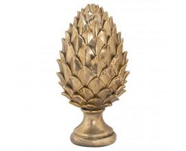 Dizajnová zlatá keramická soška Borovicová šiška na okrúhlom podstavci
