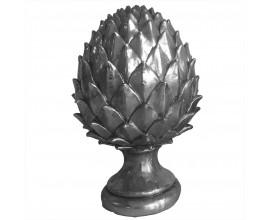Dizajnová dekorácia z keramiky Borovicová šiška v striebornom prevedení na kruhovom podstavci