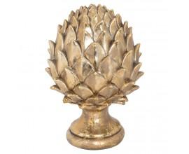 Štýlová keramická dekorácia Borovicová šiška v zlatej farbe 23cm
