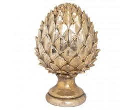 Štýlová keramická soška Borovicová šiška v zlatej farbe 30cm
