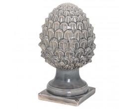 Dizajnová elegantná keramická dekorácia Acorn sivej farby 35cm