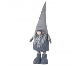 Dizajnový látkový trpaslík Gonk v šedom oblečení s bradou