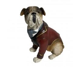 Vianočná dekorácia Windsor z materiálu polyresin v podobe sediaceho psa v obleku