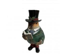 Štýlová vianočná soška Vrabec George vám bude veselo recitovať obľúbené vianočné koledy
